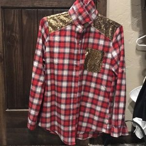 Flannel with sequin pocket and back detail